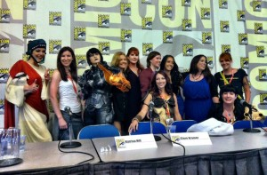 Kristen in her Skyrim gear, along with the other Most Dangerous Women at ComicCon.